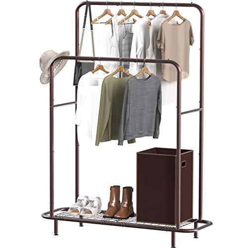 Simple Houseware Double Rod Clothing Garment Rack with Bottom Shelves Bronze