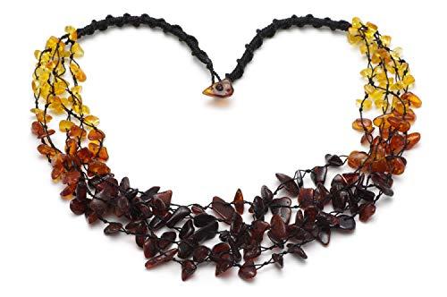 Bernsteinkette Damen – Baltische Bernstein Scmuck - Natur Perlen echt - Kette Halskette - Muttertagsgeschenk Kette Geschenke für Mama Oma Frauen Freundin