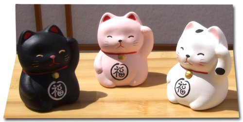 Gifts Of The Orient GOTO® - Suerte Gato Gatito Kids X 3 Negro Rosa Y Blanco - Maneki Neko