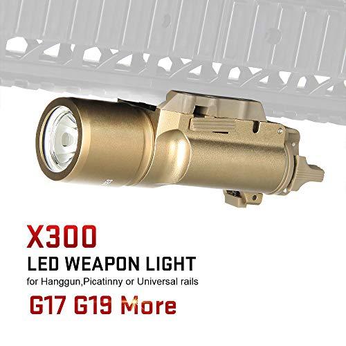 X300 Ultra táctica LED arma luz pistola pistola arma táctica caza, color arena