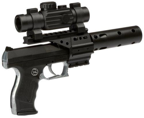 PARTY DISCOUNT J.G.Schrödel PB 001: Spielzeugpistole für Zündplättchen,mit Schalldämpfer und Ziffernrohr, ideal für das Polizeikostüm, 13 Schuss,  29 cm, schwarz (307 0100)