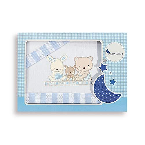 Interbaby Love - Juego de sábanas para cuna, color blanco/azul