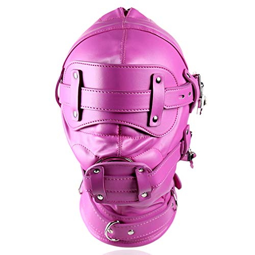 MAMOHSS Unisex Imitation Fuax Leather Head-Mounted All-Inclusive Belt with Lock Mask Headband Harness (Rose Red)