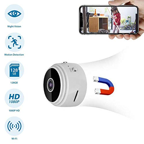 1080P Wifi Mini Camera Home Security P2P Camera WiFi Nachtzicht Bewegingsdetectie Draadloze IP Camera Remote APP Babyfoon (Wit)