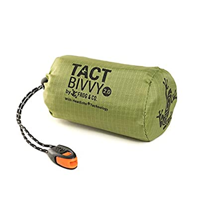 Tact Bivvy 2.0 HeatEcho Emergency Sleeping Bag, Compact Ultra Lightweight, Waterproof, Thermal Bivy Cover, Emergency Shelter Survival Kit – w/Stuff Sack, Carabiner, Survival Whistle + ParaTinder