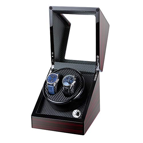 Kalawen Double Wooden Watch Winder for Automatic with Quiet Motor, Battery...