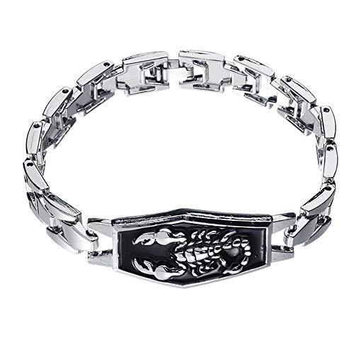 KKVK Fashion Alloy Silver Herren Scorpio Scorpion Charm Armband Punk Alloy Bangle Armband Hip Hop Schmuck Geburtstagsgeschenk A One Size