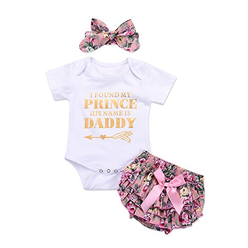 Honykids Newborn Baby Girl Romper Jumpsuit Bodysuit +Pants Shorts+Headband Outfit Set White