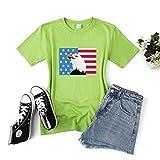 LXHcool Cuarta Bandera Americana patriótica de Julio, a Corto de la Manga de la Camiseta (Color : Green, Size : XS)