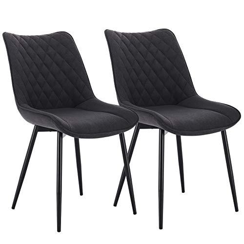 WOLTU® Esszimmerstühle BH208dgr-2 2er Set Küchenstuhl Polsterstuhl Wohnzimmerstuhl Sessel mit Rückenlehne, Sitzfläche aus Leinen, Metallbeine, Dunkelgrau
