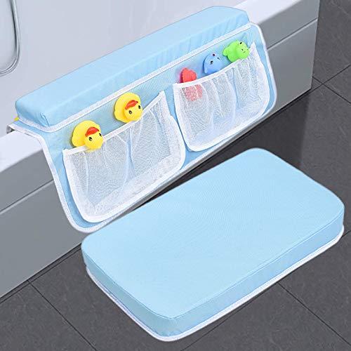 BAIHAO Alfombrilla de baño para niños, Alfombrilla Oxford de Tela Antideslizante, Almohadilla para el Codo de bañera con Organizador de Juguetes y Accesorios para niños