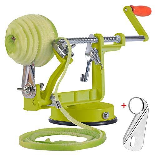 Apple peeler, Apple Peeler and Corer with Suction Base 3 in 1 Slinky Machine Durable Heavy Duty Die Apple Peelers (Green)