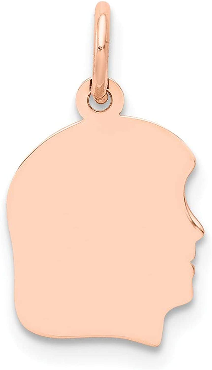 Beautiful pink gold 14K 14k pink gold Plain Small .018 Gauge Facing Right Engraveable Girl Head Cha