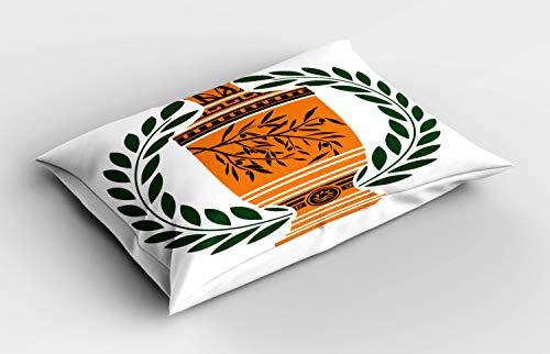 ABAKUHAUS Retro Funda de Almohada, France, Paris Laurel, Decorativa de Suave Microfibra Estampada Lavable, 80 cm x 40 cm, Hunter Verde Naranja