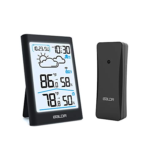 BALDR Indoor Outdoor Thermometer Wireless Weather Station, with White Backlight, Temperature Monitor & Humidity Gauge, Battery-Operated - Black