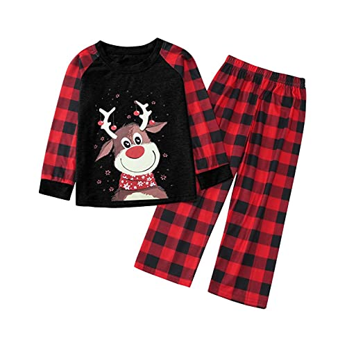 Weihnachten Schlafanzug Familien Outfits Mutter Vater Kind Mädchen Junge Nachtwäsche Hirsch Druck Nachthemd Plaid Pyjama Pants Hose Schlafanzüge Homewear Familienpyjamas Set Familien Passende Kleidung