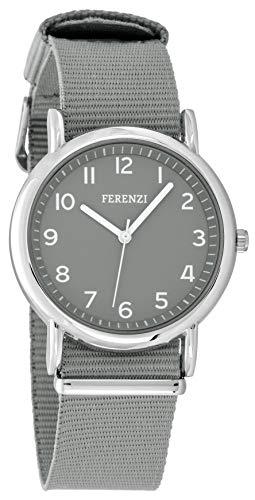 FERENZI Unisex Uhr | Digital Quarz Gut Lesbare Uhr 38mm Gehäuse Ton in Ton mit Gewebe Armband Grau | FZ20104