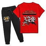 Teens My Hero ac-ademia Activewear Set Short Sleeve T-Shirt and Sweatpants Suit 2 Pcs