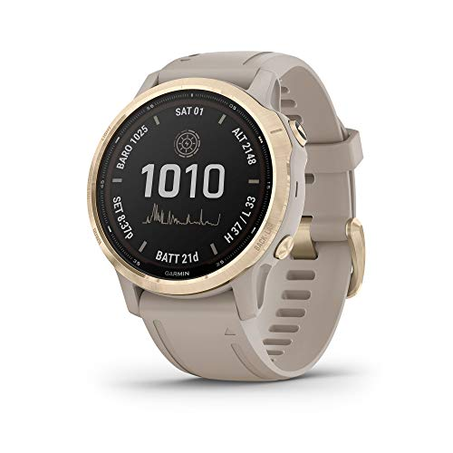 Garmin fenix 6s Pro Solar, Smaller-Sized Solar-Powered Multisport GPS Watch, Advanced Training Features and Data, Light Gold with Tan Band