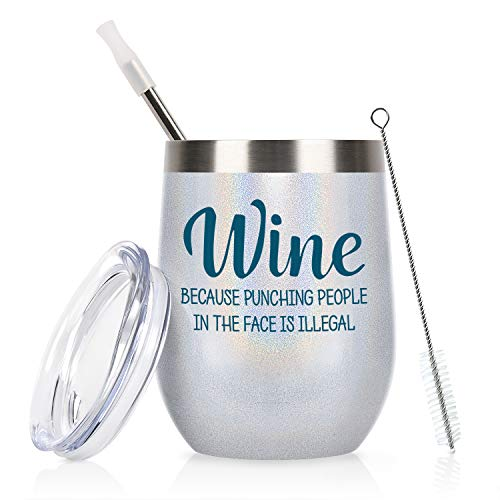 Wine Tumbler for Women, Stainless Steel Wine Tumbler with Lid and Straw, Funny Insulated Wine Tumbler Idea for Mom Friends Wife Nurse Coworker Aunt Teacher (12 Oz, White)