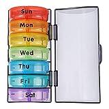 HEALLILY Organizador de Pastillas- Cajas de Píldoras Redondas Semanales BPA- Caja de Pastillas sin BPA para Viajes a Casa Droguería Trabajo 1 Pieza (Colorido)
