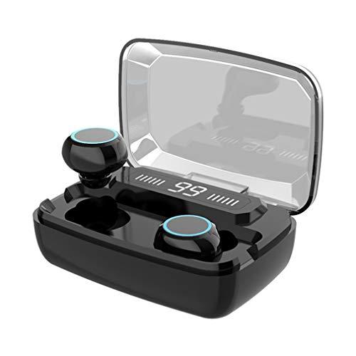 Auriculares Digitales táctiles Auriculares biauriculares inalámbricos con Pantalla de batería (Negro)
