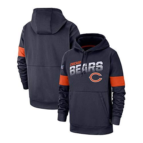 FWHACMT NFL Chicago Bears Pullover Hoodie Sweater, 3D Print Primaire Logo Sweatshirt Jeugd Voetbal Ventilator Klassieke Hoodie 2019 Salute to Service Lange mouwen Hoodie