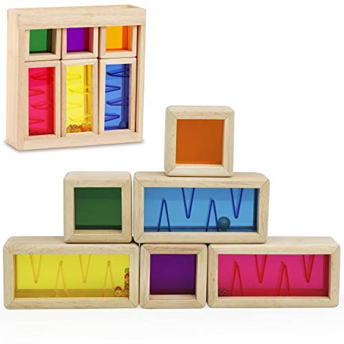 Top Right Toys Color Mixing and Stacking Building Blocks Colors Shapes and Sounds Rainbow Preschool Learning Wooden Construction Maze Toys Educational Fun for Toddler Kids Girls and Boys 7 Piece Set