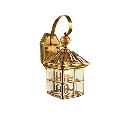 NJ Applique- Plein de mur de cuivre lampe balcon personnalité allée couloir lampe de porche éclairage extérieur intérieur (Couleur : Brass-20x40cm)