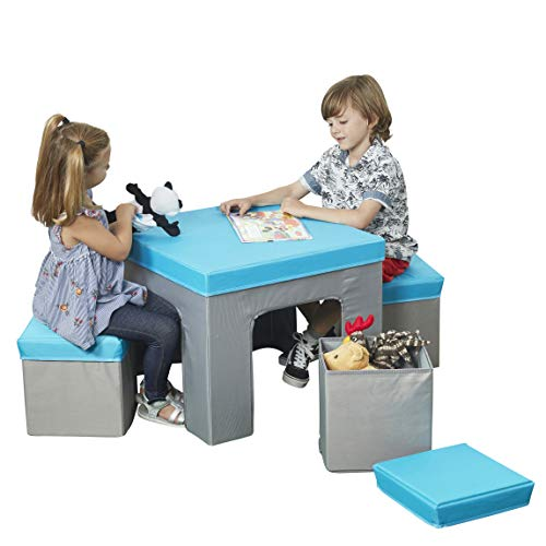 ECR4Kids Multipurpose Folding Kids Table and Chair Set, 5-Piece Furniture Set with Fabric Storage Ottomans, Easy to Assemble, Blue/Grey