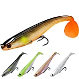 TRUSCEND Power Soft Fishing Lures Pre-Rigged BKK Hook, Japan Formula, Slow Sinking, Swimming, Jerking, Freshwater or Saltwater Swimmer for Bass Trout Pike Fishing Fishing Gifts for Men