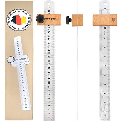 PREMIUM Streichmaß aus Metall & mit Holz Anschlag / 300mm Lineal aus Edelstahl/Universal woodworking Streichmass made in Germany