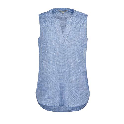 TOM TAILOR Denim Damen Sporty Slub Bluse, 21468-light Blue White slu, XL