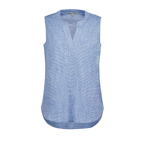 TOM TAILOR Denim Damen Sporty Slub Bluse, 21468-light Blue White slu, M
