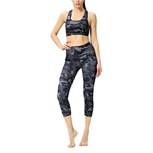 Conjuntos Deportivos Mujer Fitness Entrenamiento, Entrenamiento de la mujer Conjunto de 2 piezas Yoga Trajes de talle alto control de la panza Capri Leggings Scoop Deportes Sujetador atractivo de Cult