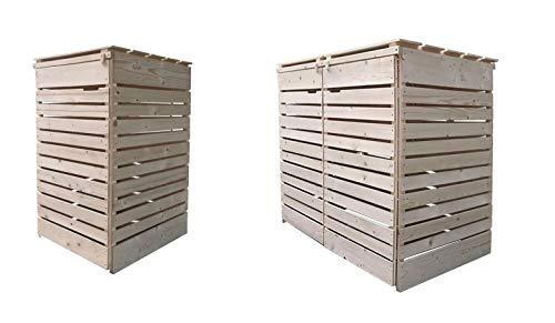 Lukadria Mülltonnenbox Mülltonnenverkleidung Mülltonnecontainer Holz 120L - 240L Natur mit Rückwand Modell HH (3 Tonnen)