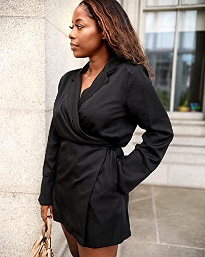 The Drop Women's Black Long Sleeve Tie-Wrap Mini Shirt Dress by @highlowluxxe