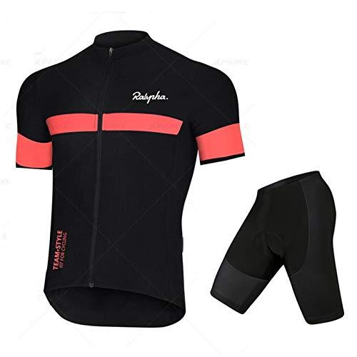 Ropa de bicicleta de manga corta de ciclismo para hombre Ropa de bicicleta con cremallera completa Camisa de secado rápido transpirable Top deportes ( Color : Short sleeve+shorts B , Size : 4XL )