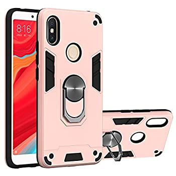 Rose Gold Hard Rugged Case for Xiaomi Redmi S2  Redmi Y2  Hybrid Protective Case Kickstand Phone Holder Metal Ring Support Magnetic Car Phone Shell Durable Protector Cover for Redmi S2