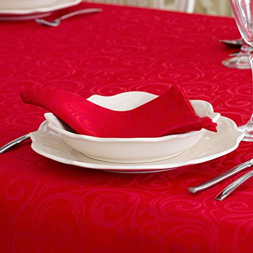 BgEurope - Tovaglia rossa antimacchia, taglia grande, rif. Lyon, Poliestere cotone. lino. Cotone, Rosso, 6 Napkins 18 x 18' (45 x 45cm)