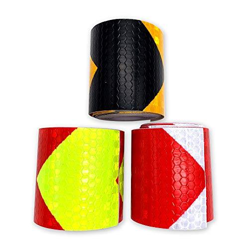 gotyou 3 Stück Reflektierendes Warnband,Warntafel Pfeil Reflexstreifen,Verkehrssicherheitsband Reflektierender Film,Reflektierender Aufkleber 5cm*3m,3 Farben(Rot/Weiß, Schwarz/Gelb, Rot/Grün)