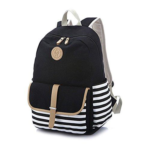 Schulrucksack Mädchen Schulranzen Teenager Streifen Canvas Rucksack Damen Reisetasche Casual Daypacks für Universität Freizeit 44 x 35 x 16cm, schwarz