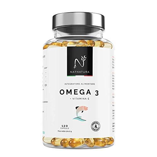Omega 3+Vitamina E. Olio di Pesce Selvatico 2000mg. Omega 3. Elevata concentrazione di EPA-DHA. Effetto antiossidante. Integratore alimentare a base di puro olio di pesce. 120 capsule