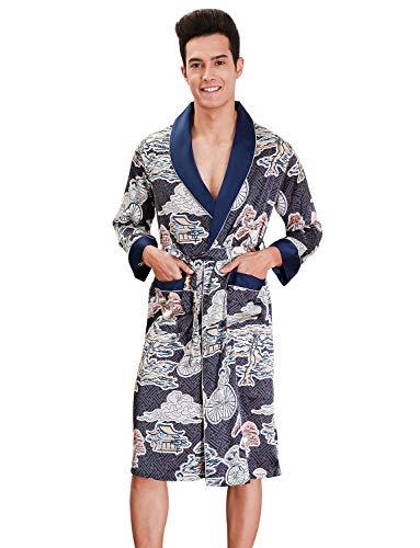 ZAPZEAL Herren Satin Bademäntel Paisley Pattern Kimono Morgenmantel