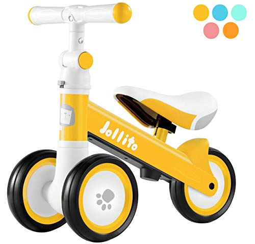 Jollito Baby Balance Bike, Adjustable Toddler Baby Bicycle 12-24 Months with 3 Silent Wheels, No Pedal Toddlers Walker Bike Riding Toy for 1 Year Old Boys Girls, Best Birthday Gift