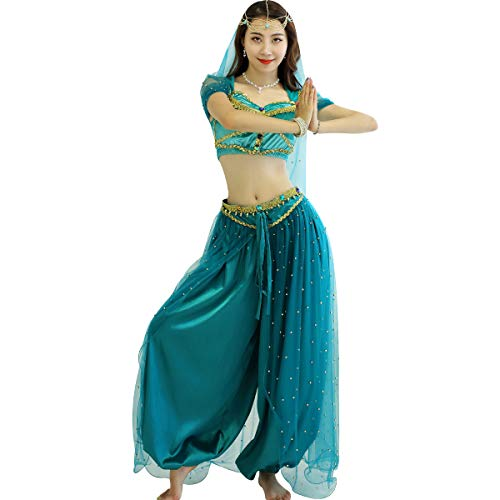 Belly Dance Jasmine Costume – Aladdin Halloween Outfit Princess Costumes Teal for Women(M)