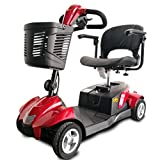 EV Rider CityCruzer 4-Wheel Portable Mobility Scooter with 20Ah Batteries, Tight Turning Radius, Swivel Seat, Armrests, Basket & Delta Tiller - Red