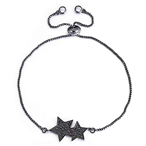 AMINIY New Double Star Bracelet With Micro Black Adjustable Chain Lucky Bracelet For Men And Women (Color : Black)