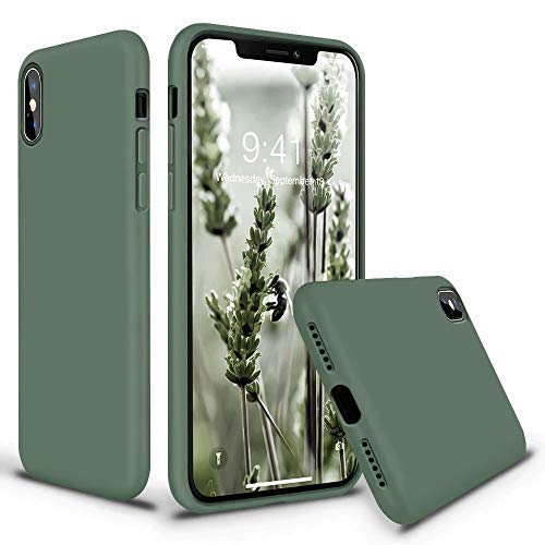 Vooii iPhone Xs Case, iPhone X Case, Soft Liquid Silicone Slim Rubber Full Body Protective iPhone Xs/X Case Cover (with Soft Microfiber Lining) Design for iPhone X iPhone Xs - Pine Green