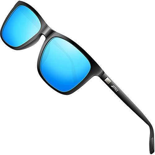ATTCL Gafas de sol polarizadas Hombres Mujeres Marco de metal Gafas de sol de conducciónBlack+black+blue A387